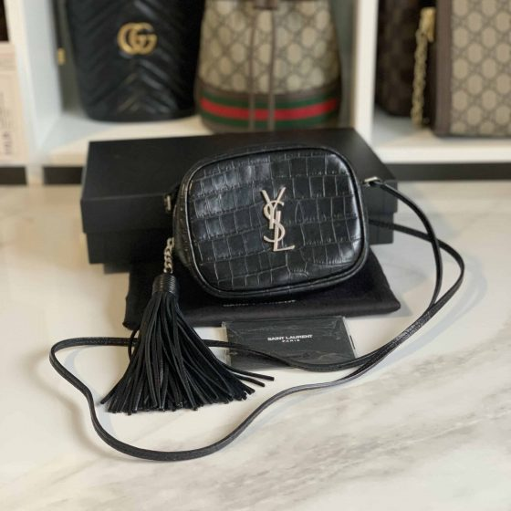 Saint Laurent Crocodile Embossed Calfskin Monogram Blogger Bag Black