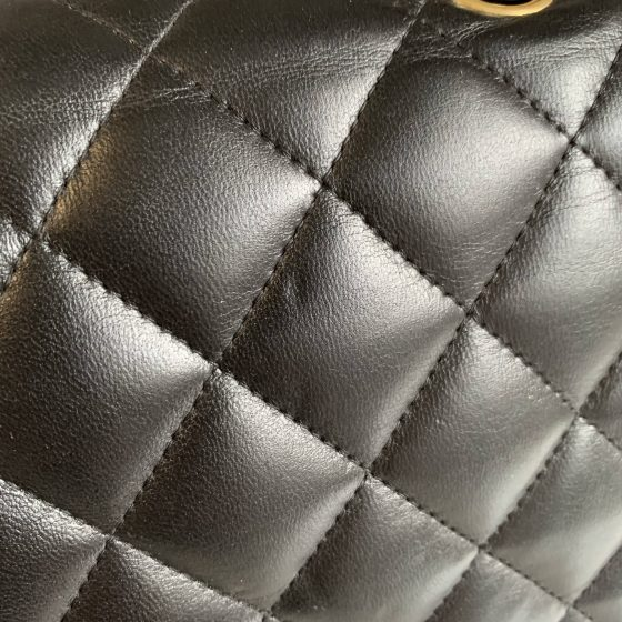 Chanel Lambskin Quilted Jumbo Double Flap Black Gold Hardware