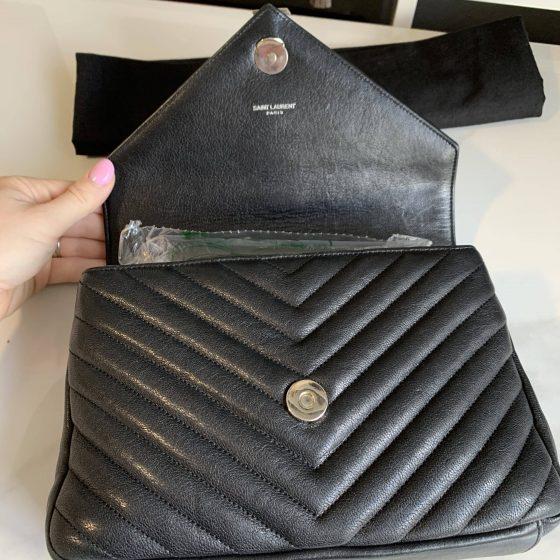 Saint Laurent Sheepskin Matelasse Chevron Medium College Monogram Bag Black