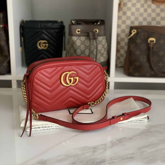 Gucci Calfskin Matelasse Small GG Marmont Bag Red