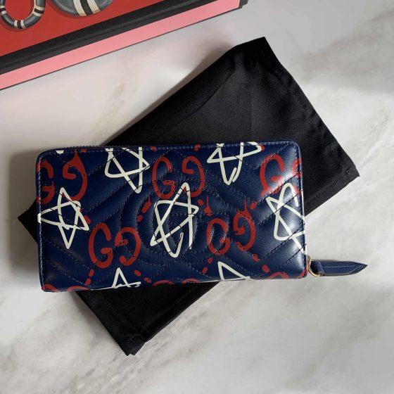 Gucci Calfskin GucciGhost Matelasse GG Marmont Zip Around Wallet Blue