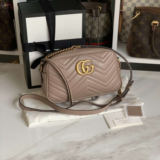 Gucci Calfskin Matelasse Small GG Marmont Bag Porcelain Rose