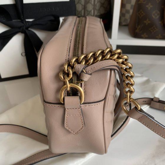 Gucci Calfskin Matelasse Small GG Marmont Bag Porcelain Rose