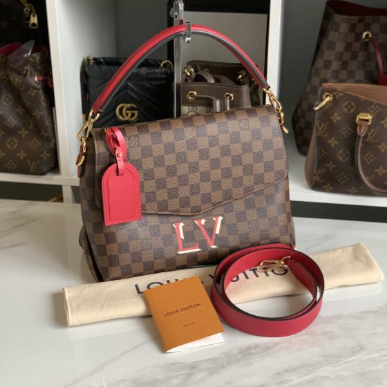 Louis Vuitton Damier Ebene Beaubourg MM Scarlet