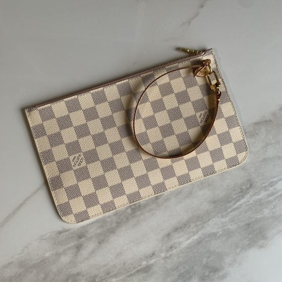 Louis Vuitton Damier Azur Neverfull MM Rose Ballerine Pouch