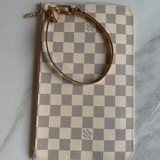 Louis Vuitton Damier Azur Neverfull MM Rose Ballerine Pouch