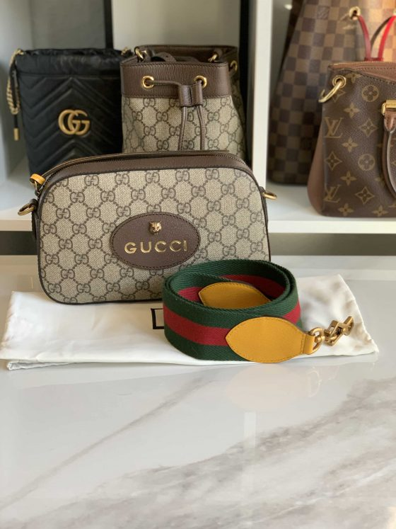Gucci GG Supreme Monogram Web Messenger Bag Brown Yellow