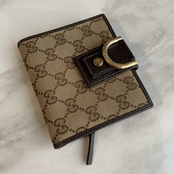 Gucci D Ring Compact Wallet Brown Canvas