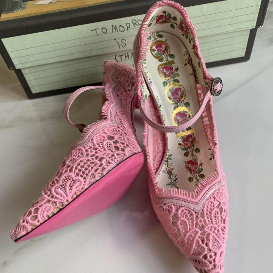 Gucci Lace Pizzo Venice Pumps 36 Soft Pink