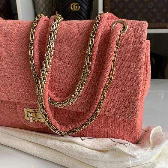 Chanel Jersey Croc Reissue 226 Flap Bag Pink