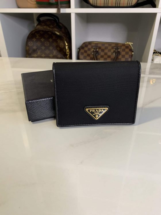 Prada Saffiano French Wallet Black & Gold Hardware