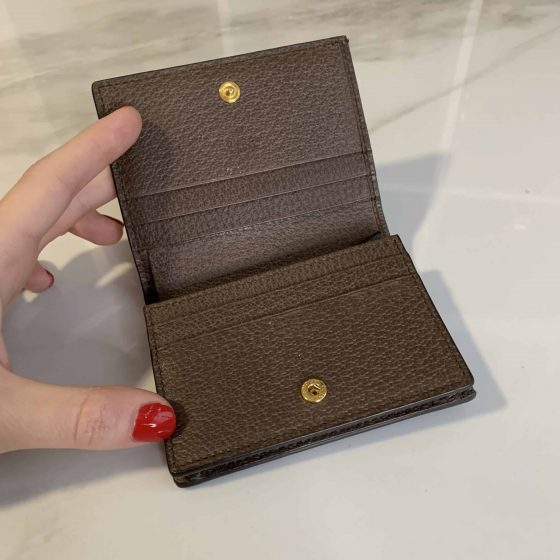 Gucci GG Supreme Monogram Web Ophidia Card Case Brown