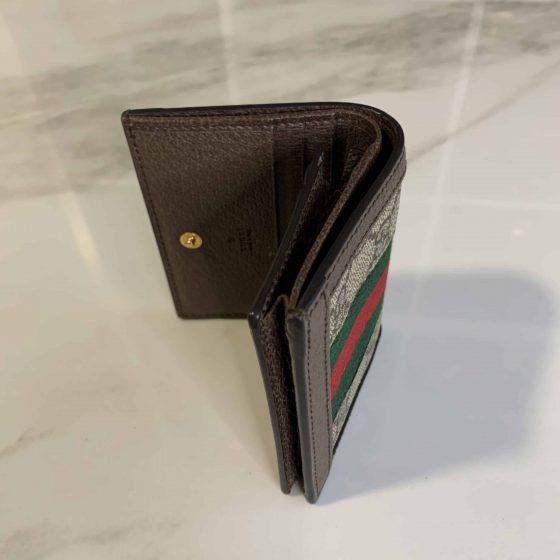 Gucci GG Supreme Monogram Web Ophidia Card Case Brown