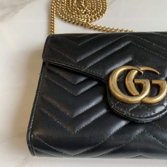 Gucci Calfskin Matelasse GG Marmont Chain Wallet Black