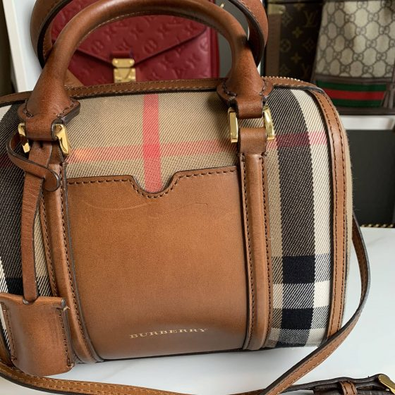 Burberry House Check Small Alchester Bowling Bag Tan