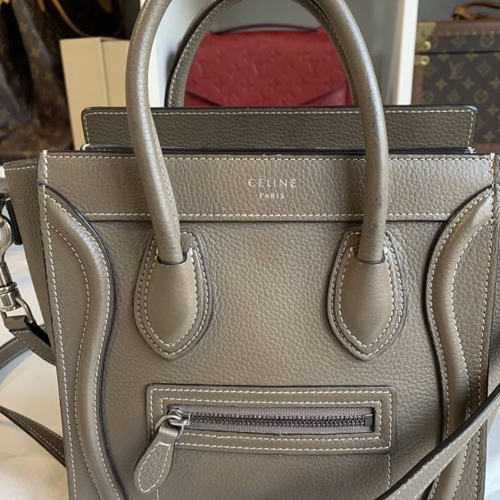 Celine Drummed Calfskin Nano Luggage Souris