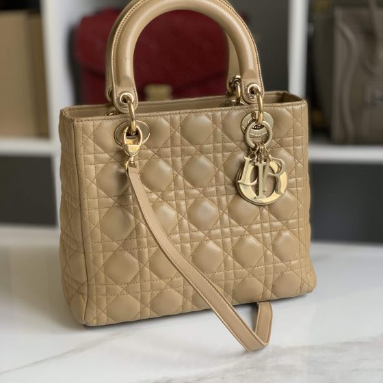 Christian Dior Lambskin Cannage Medium Lady Dior Beige