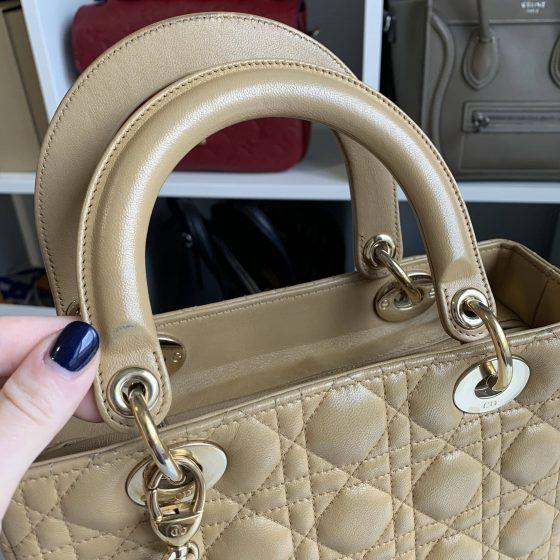 Christian Dior Lambskin Cannage Medium Lady Dior Beige