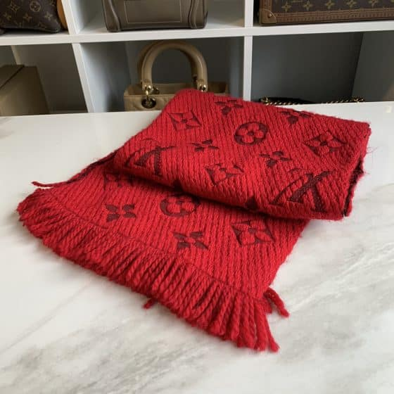 Louis Vuitton Logomania Scarf Ruby