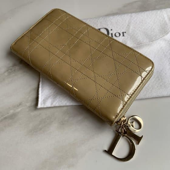 Christian Dior Beige Cannage Patent Leather Zip Around Lady Dior Wallet