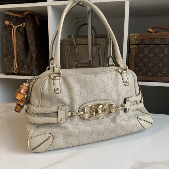 Gucci White Guccissima Leather Wave Boston Bag