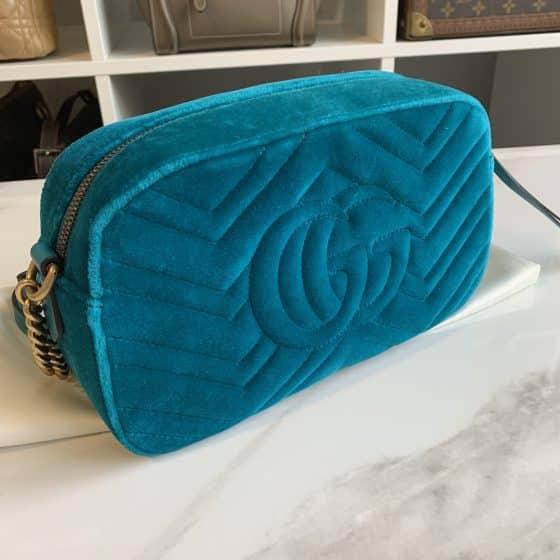 Gucci Velvet Matelasse Small GG Marmont Peacock Blue