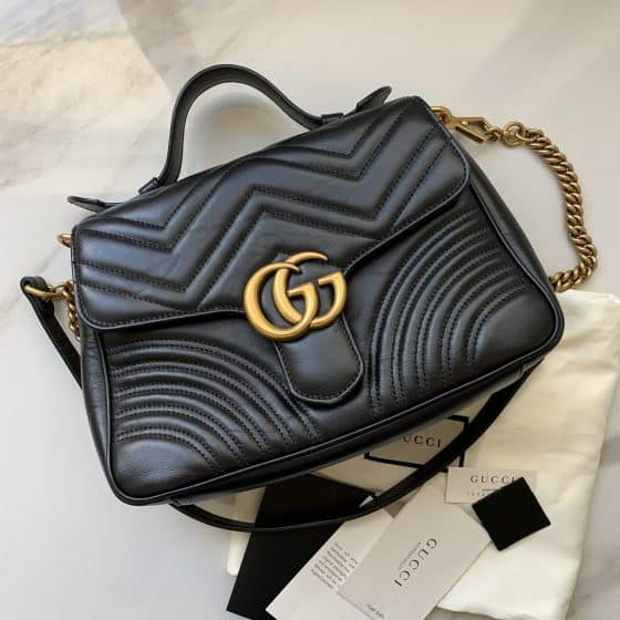 Gucci Calfskin Matelasse Small GG Marmont Top Handle Bag Black