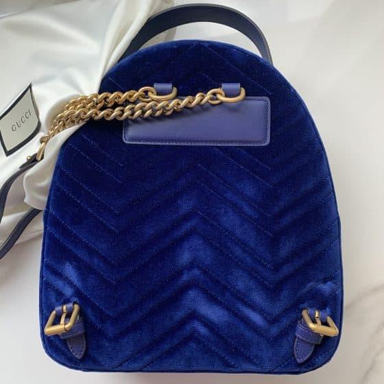 Gucci Velvet Matelasse GG Marmont Backpack Cobalt Blue
