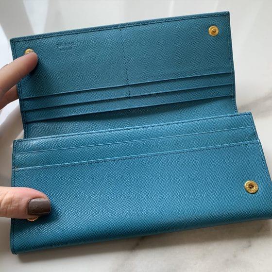 Prada Saffiano Continental Flap Wallet Teal