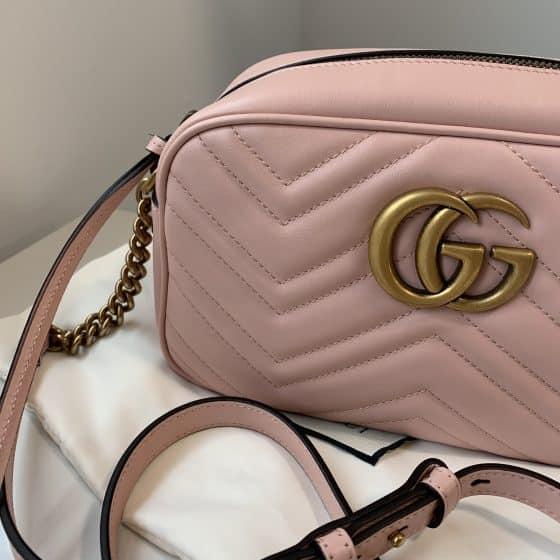 Gucci Calfskin Matelasse Small GG Marmont Bag Pink