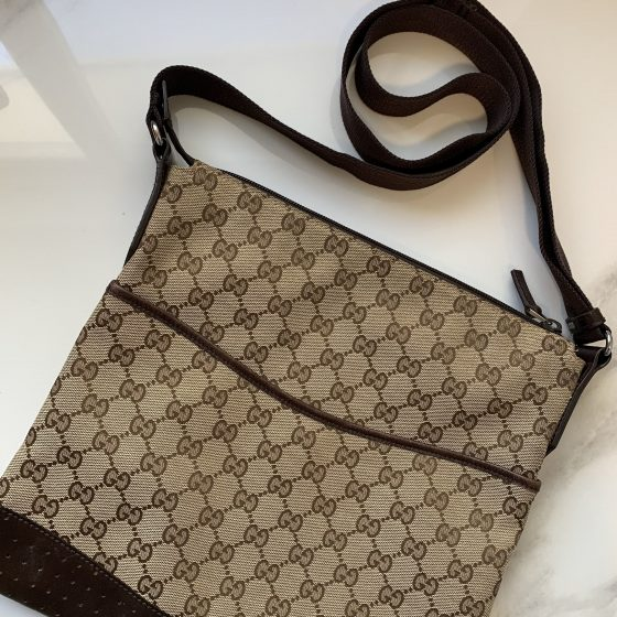 Gucci Monogram Medium Perforated Messenger Ebony