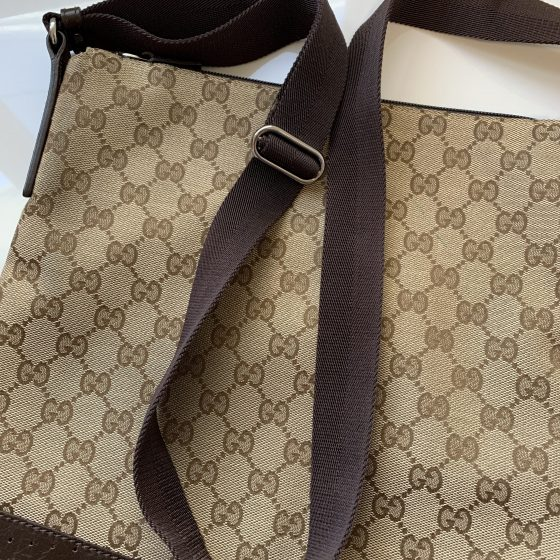 Gucci Monogram Medium Perforated Messenger Ebony