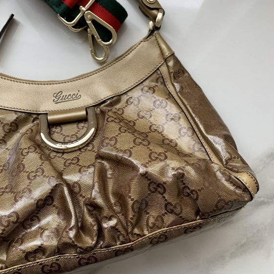 Gucci GG Canvas Small D-Ring Hobo Bag Gold