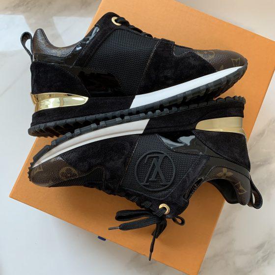 Louis Vuitton Monogram Suede Run Away Sneakers 36.5 Black