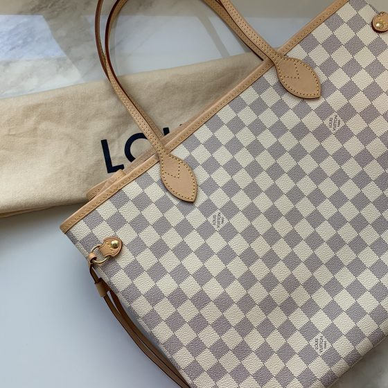 Louis Vuitton Damier Azur Neverfull GM Rose Ballerine
