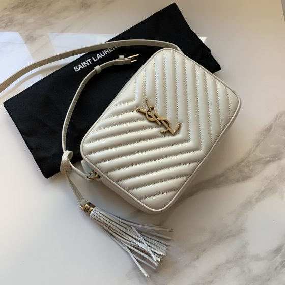 Saint Laurent White Lou Camera Bag Chevron Quilted