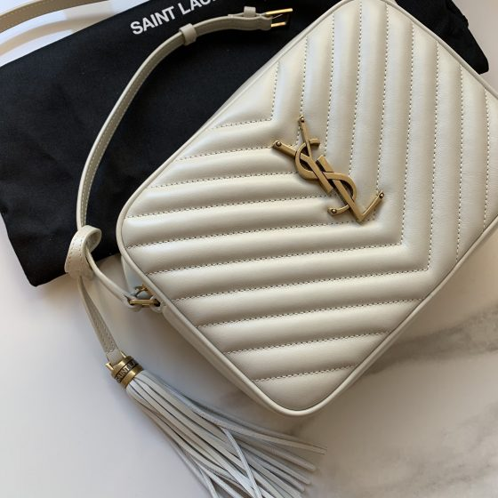 Saint Laurent White Lou Camera Bag Chevron Quilted