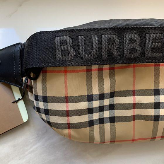 Burberry Nylon Vintage Check Sonny Belt Bag Archive Beige