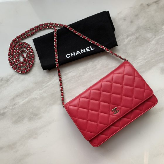 Chanel Lambskin Quilted Wallet On Chain WOC Raspberry