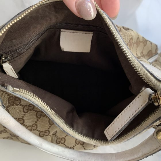 Gucci GG Canvas Small D-Ring Hobo Bag White