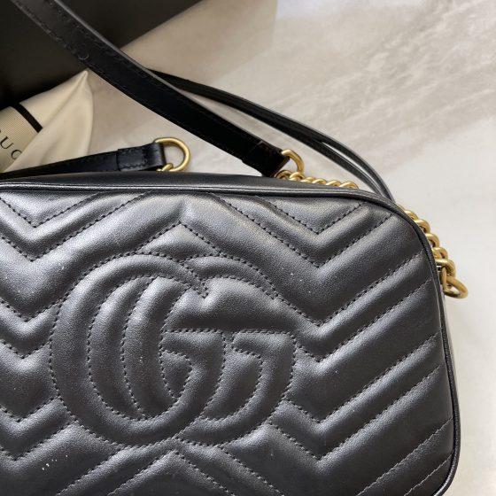 Gucci Calfskin Matelasse GG Marmont Bag Black