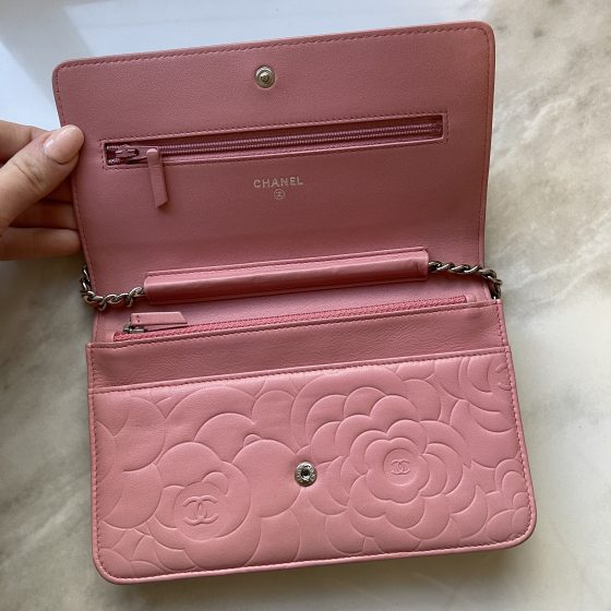 Chanel Lambskin Camellia Embossed Wallet On Chain WOC Pink