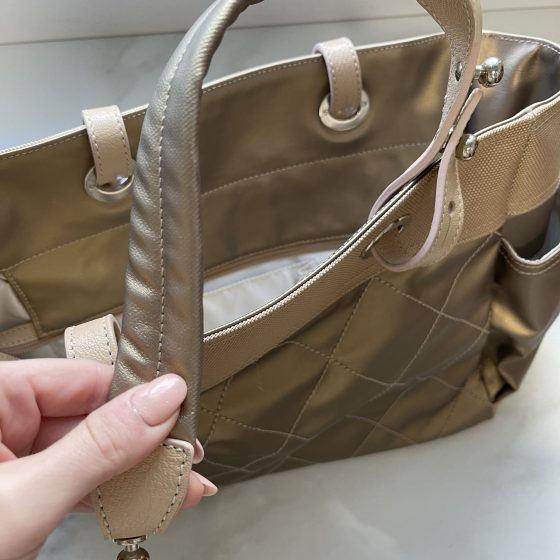 Chanel Metallic Coated Canvas Large Paris Biarritz Tote Gold