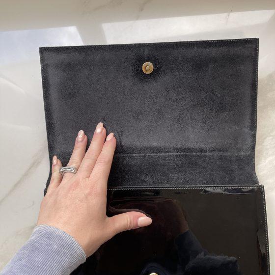Saint Laurent Patent Large Belle De Jour Clutch Black