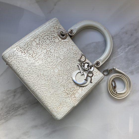 Christian Dior Lady Dior Handbag Laser Cut Lace Medium