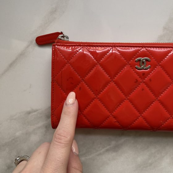Chanel Patent Leather Red Zip Wallet SHW