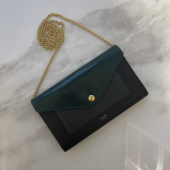 Celine Pocket Envelope Wallet on Chain Leather and Lizard