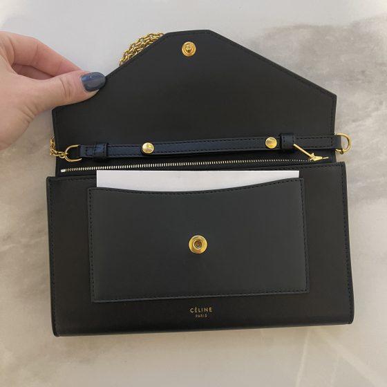 Celine Pocket Envelope Wallet on Chain Leather and Lizard