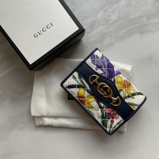 Gucci Flora Floral Quilted Trapuntata Card Case Wallet