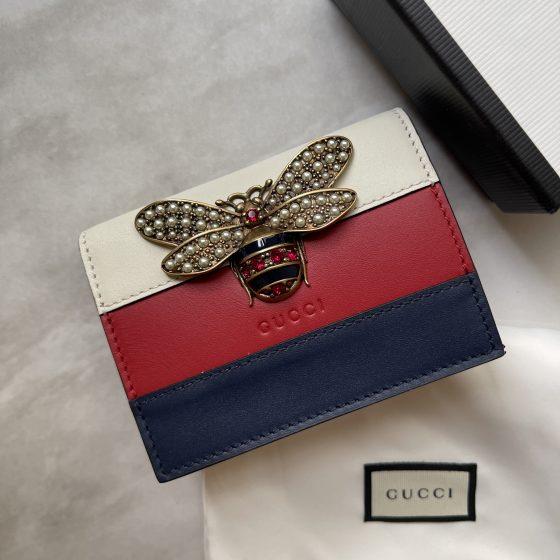 Gucci Calfskin Queen Margaret Card Case Blue Red White